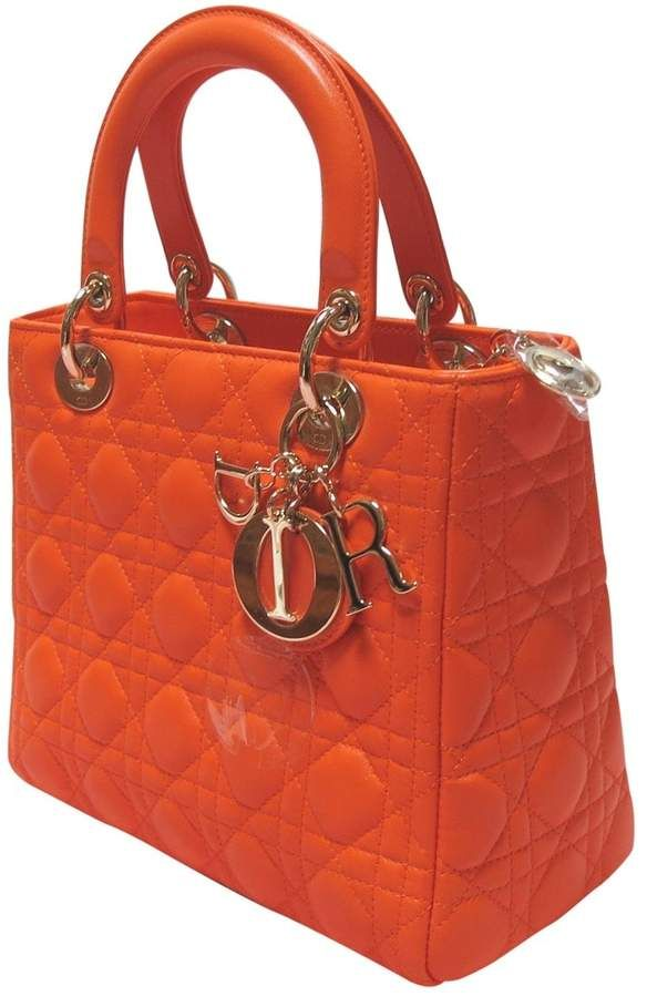 Lady Dior Leather Handbag Orange Purse Bag