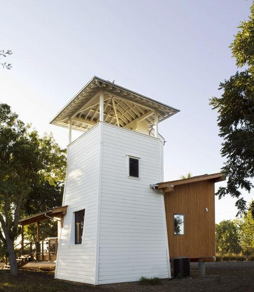 The Yolo County Cabin, designed by Butler Armsden Architects, sits on a 400-acre farm in the rural Northern California town of Winters. With a structure inspired by the local water towers and lean-to sheds that dot the area's surrounding agricultural landscape, the home's elevated viewing terrace offers a 360-degree view of the land.  Look inside the Yolo County Cabin.   - CountryLiving.com