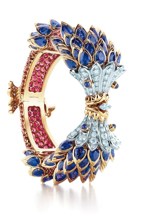 Tiffany & Co. Schlumberger® Fish Bracelet with sapphires, red spinels and diamonds.