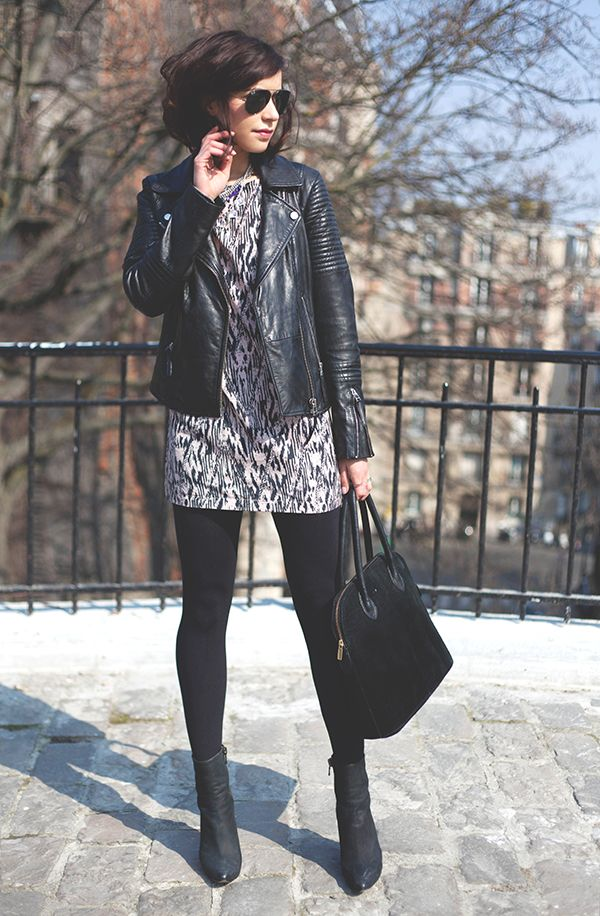 Leather prints and oversized handbags