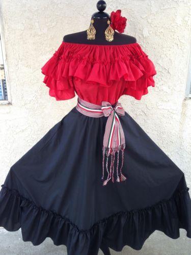 MEXICAN FIESTA,5 DE MAYO,WEDDING BLACK/RED DRESS OFF SHOULDER 2PC W/MEDIUM SASH | Clothing, Shoes & Accessories, Wedding & Formal Occasion, Wedding Dresses | eBay!