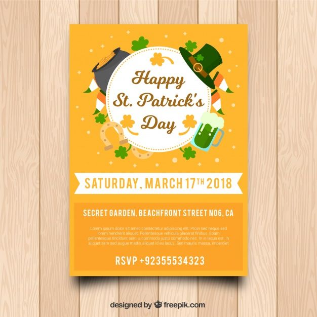 St. patrick's day flyer / poster template Free Vector