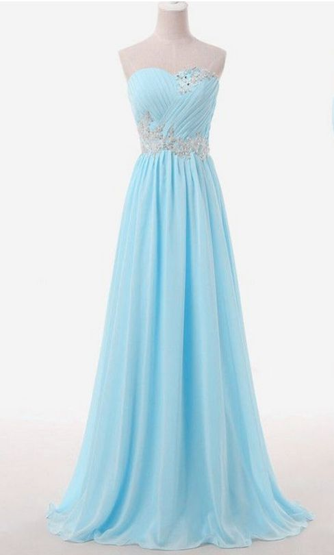 Sleeveless Light Blue Long Chiffon Formal Occasion Dress with Pleated Bodice