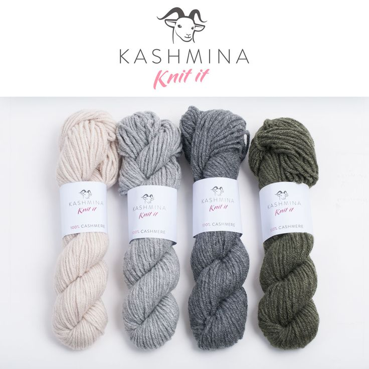 Cashmere yarns from Kashmina Knit It Yarn for handknitting in 100% pure cashmere