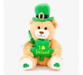Cream Teddy Bear with Leprechaun Hat and Green Shamrock