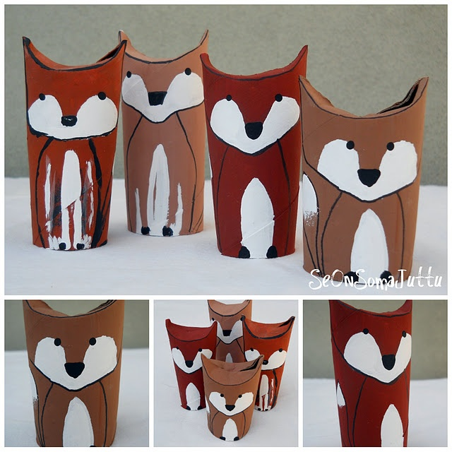 Fox family from paper towel rolls