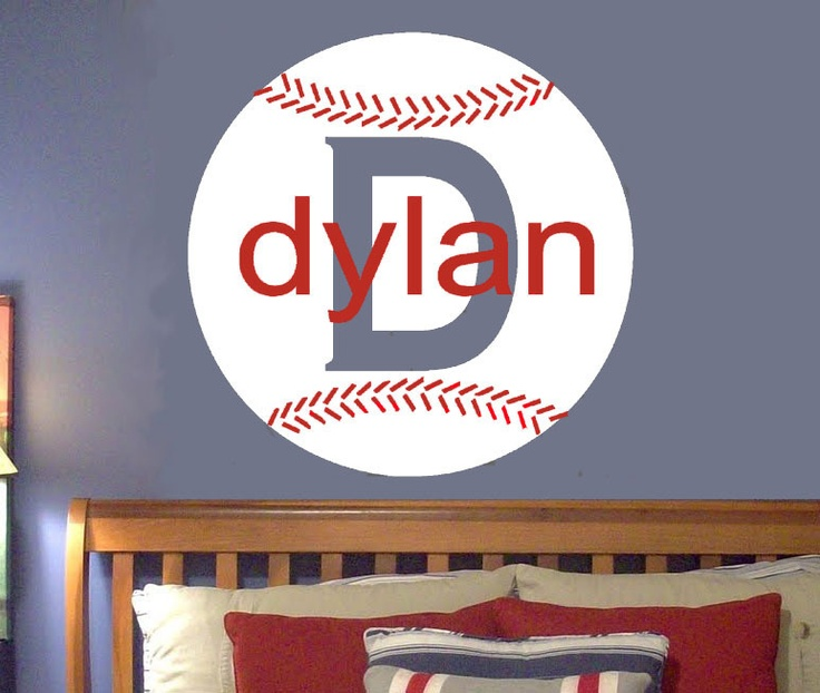 Personalized sports baseball vinyl wall decal wall art for Sports decals for kids rooms