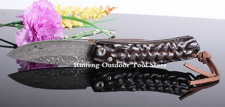 Free delivery - Damascus VG10 natural ebony handle Hunting Knife Camping Utility Knife With Wooden Handle Damascus Steel Knives Free Shipping