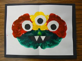 Today we learned about symmetry.  After a mini lessonon things that are symmetric and asymmetric, wepainted symmetric...