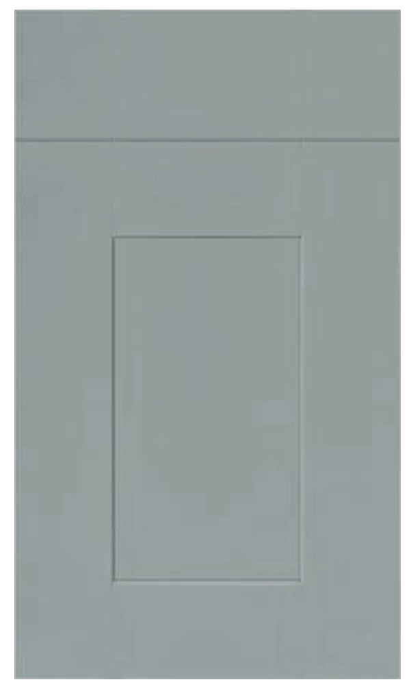 Painted Shaker Kitchen Door Style. No 'V' groove for a more contemoprary look. Painted in any colour.