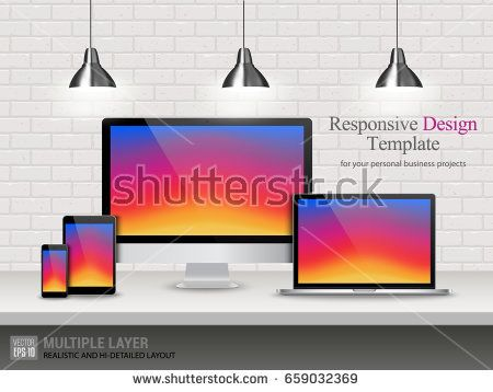 Realistic Computer, Laptop, Tablet and Mobile Phone with Instagram Wallpaper Screen Isolated on Vintage Brick Wall. Set of Device Mockup Separate Groups and Layers. Easily Editable Vector.