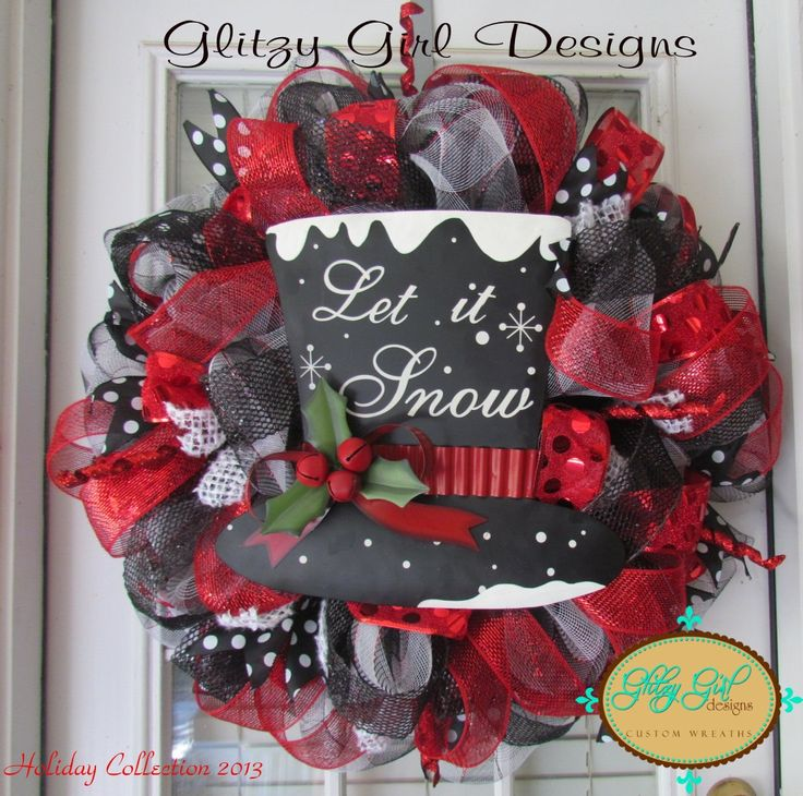 Let is Snow Christmas deco mesh wreath by GlitzyGirlDesigns