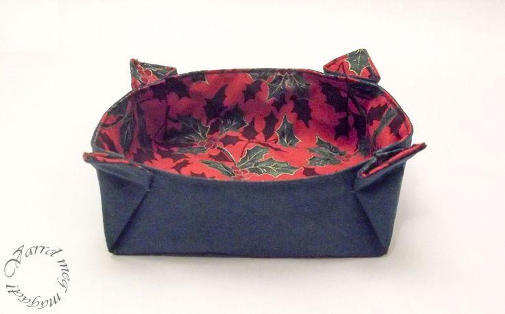 Mutatós és könnyen elkészíthető kerek tálka textilből.