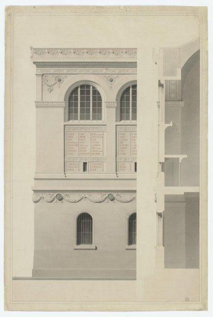 Henri Labrouste, Bibliothèque Sainte-Geneviève, Paris, (1838-1850) Southwest corner elevation and section (Late 1850), Bibliothèque Sainte-Geneviève, Paris