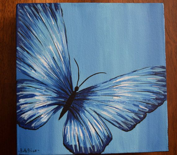 Original Blue Butterfly Painting on 6x6 Canvas