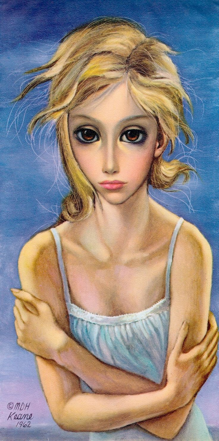 """'THE STORM'  6""""x12"""" oil on masonite (1962) """"The storm and tormented Soul. Portraying the need of love and a feel of security. She wants to reach out and touch love"""" Painting and text by MARGARET KEANE from the book MDH Margaret Keane 1st edition 1964 (minkshmink collection)"""