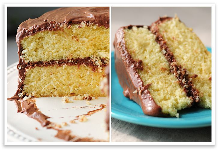 Yellow Butter Cake with Chocolate Malt Buttercream Frosting