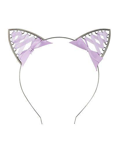 Lavender Laced Ribbon Cat Ear HeadbandLavender Laced Ribbon Cat Ear Headband,