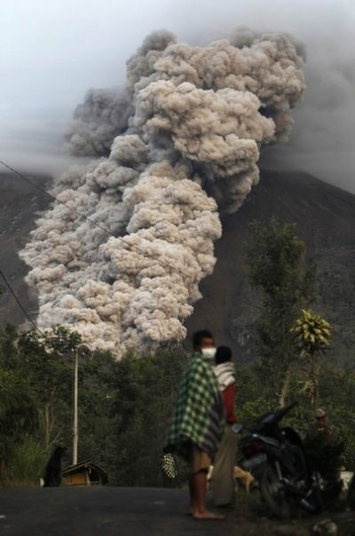 Mount Merapi releases volcanic materials into the air in Cangkringan, Yogyakarta, Indonesia on Monday, Nov. 1, 2010