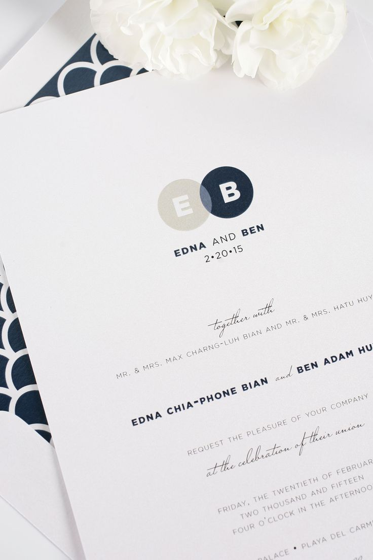Modern wedding invitations with monogram in Navy and Taupe