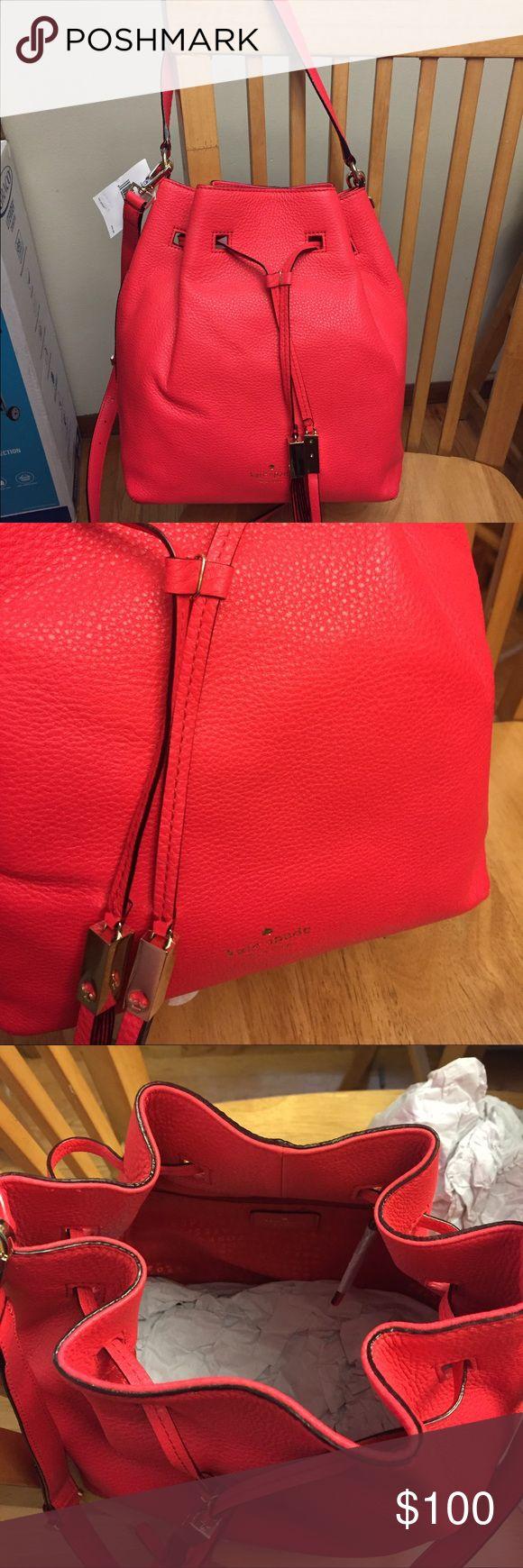 Kate Spade Delaina drawstring purse BNWT in beautiful bright geranium color! kate spade Bags Crossbody Bags