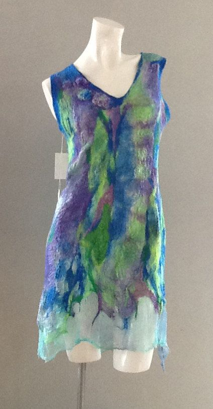 Nuno felted dress, OOAK wool Art to Wear dress.