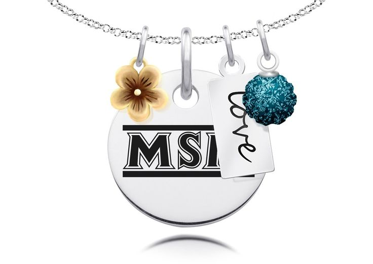 """Mount St. Mary's Mountaineers Cluster Necklace with Flower, Color and Love Accents. Officially Licensed. Standard Chain Length is 16"""". Circle Charm Size is 17mm (size of a dime). Crystal Ball Measures 5mm in Diameter. """"The indicia featured on this product is a protected trademark owned by the respective college or university.""""."""
