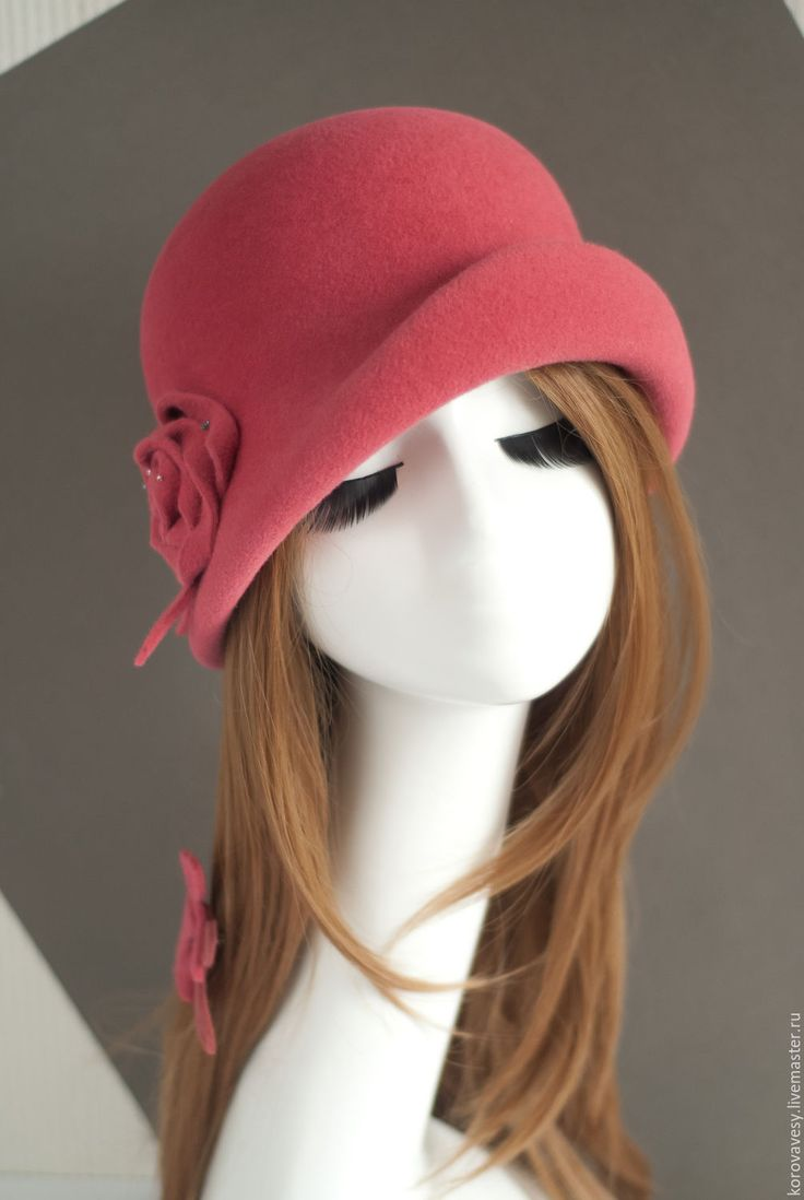 Купить Коралловый клош - коралловый, розовый, красный, шляпка, клош, элегантность, женская мода