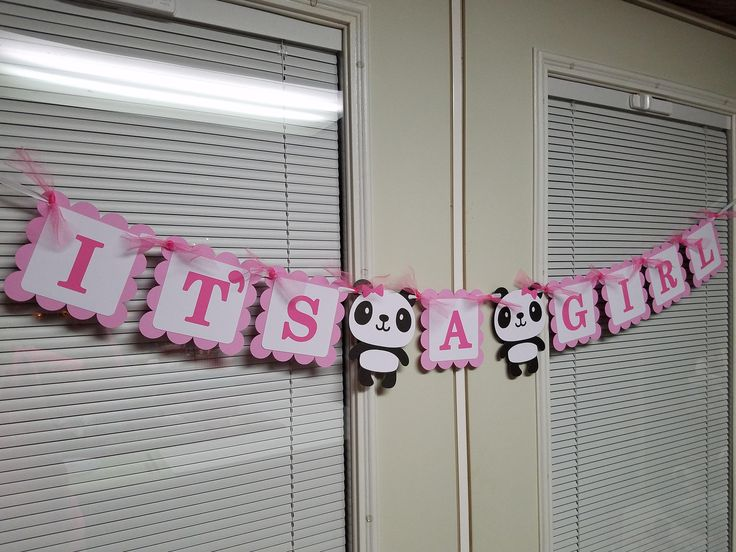 Panda Its a girl banner, Panda baby shower, panda centerpiece, Its a girl centerpiece, its a girl decorations, seahorse by MindysPaperPiecing on Etsy