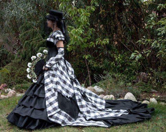 Alternative checkered Wedding Dress by SteampunkAndFantasy on Etsy
