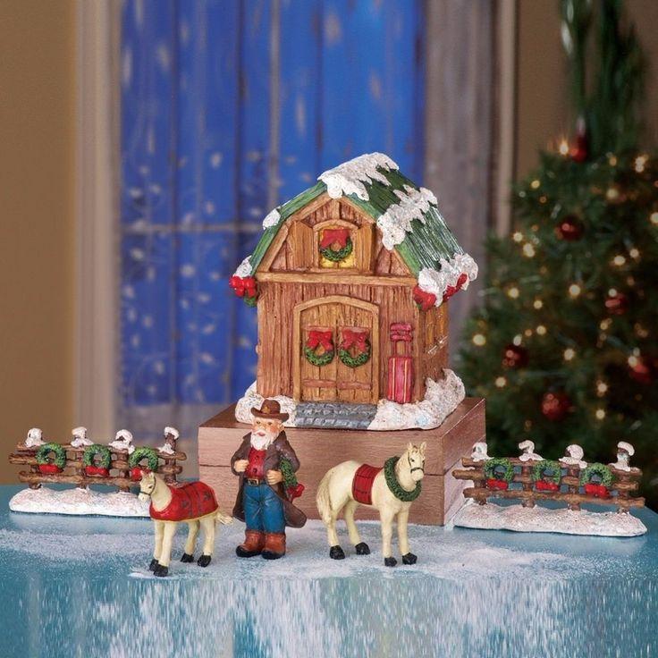 Miniature Christmas Barn Santa Cowboy and Two Horse Figurine Tabletop Decor #ChristmasBarn #Christmas #Barn #Miniature #Cowboy #TwoHorse #Figurine #Decor #FigurineDecor #TabletopDecor #Tabletop