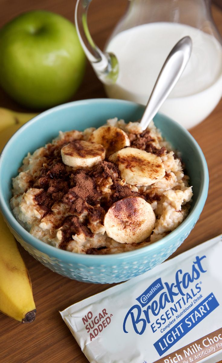 Here's a weekday breakfast idea. Oatmeal is a great breakfast classic that you can dress up in so many ways like with strawberries, bananas, walnuts, coconut flakes and more. So try stirring in Carnation Breakfast Essentials® Light Start™ powder drink mix just before serving. You'll turn your oats into vanilla or chocolate goodness with protein and 21 vitamins and minerals.