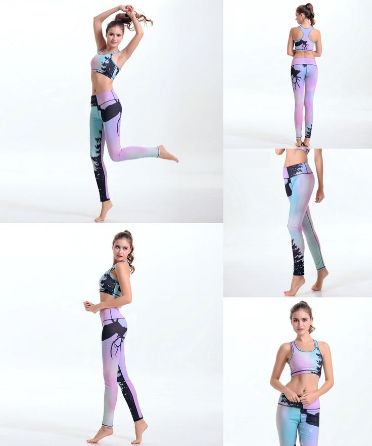 [Visit to Buy] 2 Piece Women Yoga Bra Pant Running Sets Sport Suit Clothes Fitness Tights Compression Gym Tracksuits Sportwear Legging Yoga Set #Advertisement