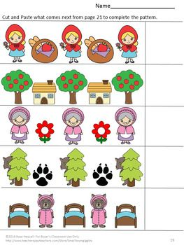 Fairy tales: With these Little Red Riding Hood Math and Literacy Cut and Paste worksheets, students in preschool, kindergarten, special Ed, and autistic classrooms will practice visual discrimination, color recognition, match pictures, upper/lower case letter recognition, complete patterns, count/recognize numbers, add/subtract sorting, more or less and more.   These worksheets are no prep and are ready to print.