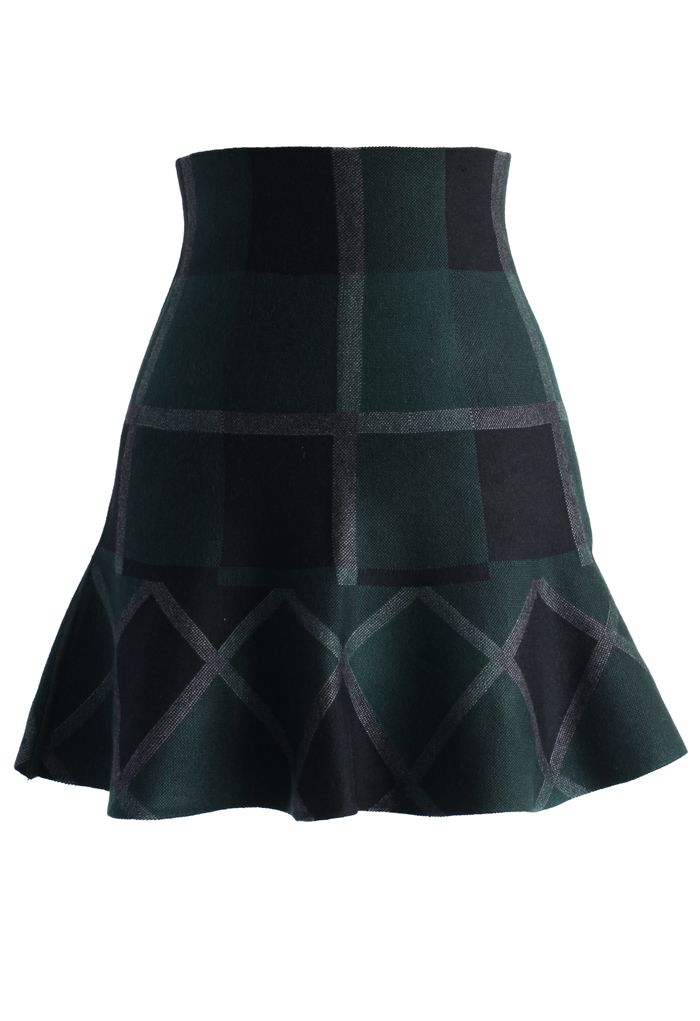 Green Plaid Knitted Skater Skirt - Retro, Indie and Unique Fashion