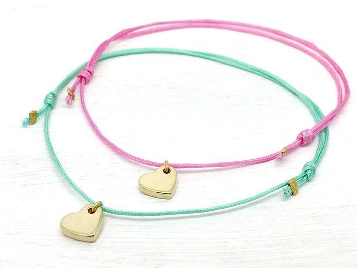 Armbänder - Armband Set Herz Anhänger Gold Liebe Freundin - ein Designerstück von sasasum-Jewellery bei DaWanda