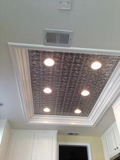 remodel flourescent light box in kitchen | We also replaced the fluorescent kitchen light box with ceiling tiles ...