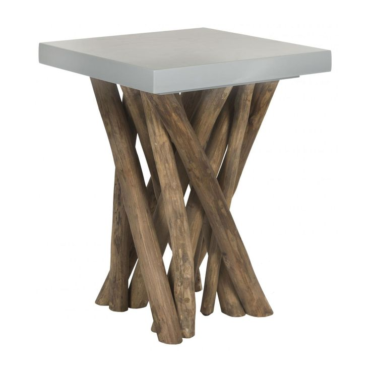 Reclaimed Teak Branches Hold Up A Modern Slate Colored Seat Of The Hunter Teak  Table.