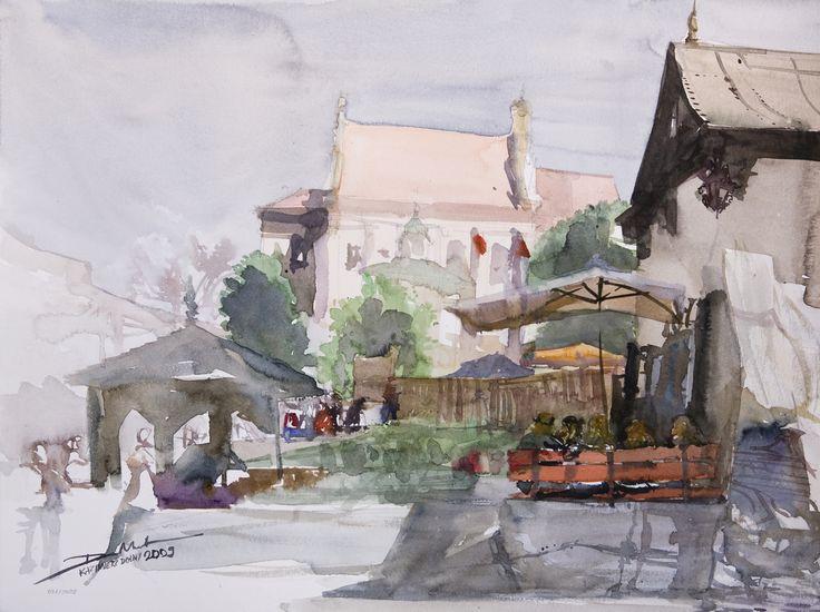 Fara, 42x56cm, 2009 www.minhdam.com #architecture #watercolor #watercolour #art #artist #painting #kazimierz #dolny #poland
