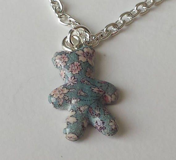 Collier pour enfant ourson liberty de fabrication artisanale