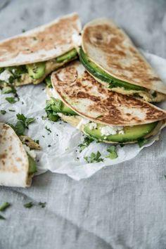 quesadillas with feta, hummus and avocado.