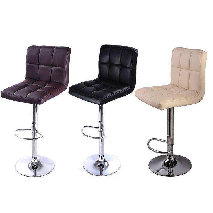2pc Bar Stool Pu Leather Barstools Chairs Adjustable