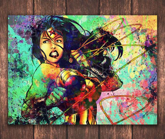 Wonder Woman Wall Art watercolor wonder woman poster download, justice league digital