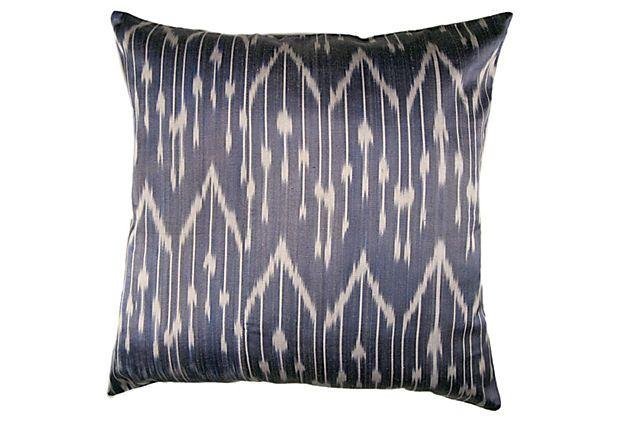 Willow 18x18 Silk-Blend Pillow, Blue on OneKingsLane.com