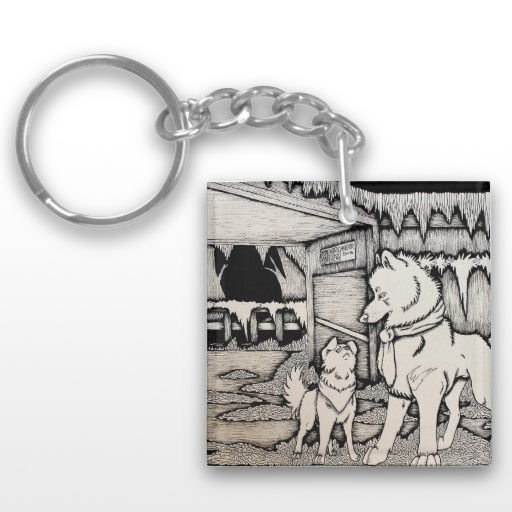 """In Early December"" Black and White Wolf and Dog Couple Illustrated Keychain"