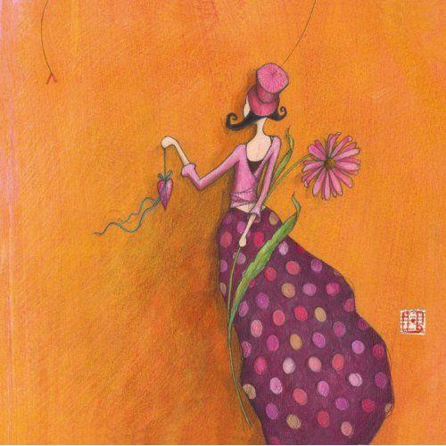 """Gaëlle Boissonnard square card (14 x 14 cm) """"Le cadeau en coeur"""""""