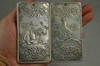 Presente de natal de prata Miao chinês escultura coleção pingente coelho e garota realista