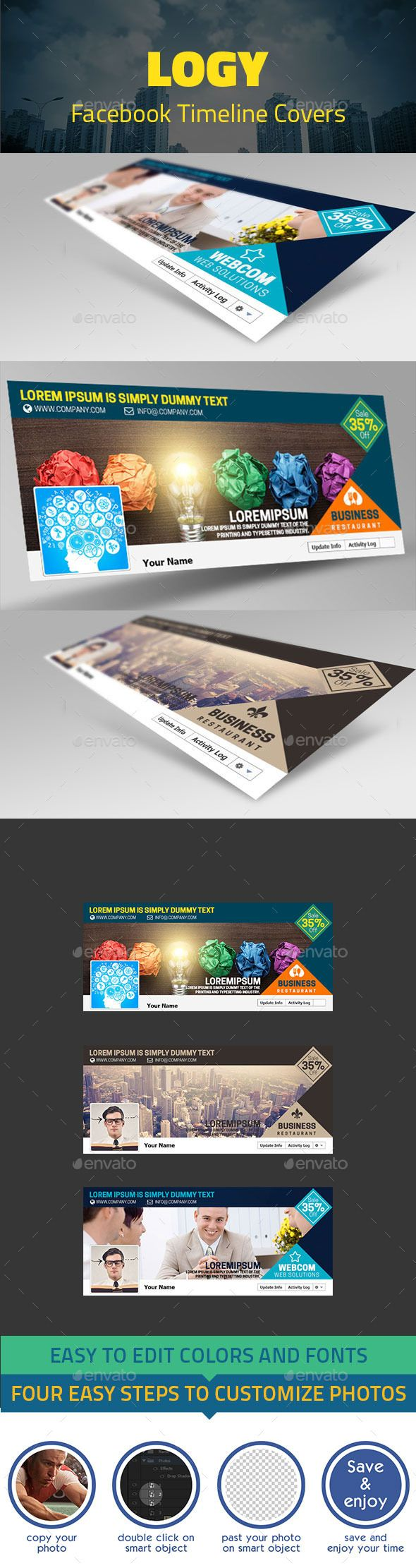 Logy Facebook Timelines Covers (Photoshop PSD, CS3, 851x315, cover, creative, creative timeline, design, facebook, facebook cover, facebook profile, Facebook timeline, food, layered, profile cover, psd, restaurant, timeline, timeline cover, web elements)