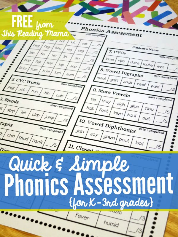 FREE Phonics Assessment for K-3 ~ a quick way to see what phonics skills your child/student needs to learn | This Reading Mama