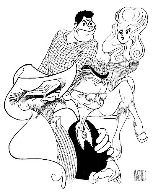 "Buddy Ebsen, Irene Ryan, Max Baer Jr., and Donna Douglas in ""The Beverly Hillbillies"" by Al Hirschfeld"